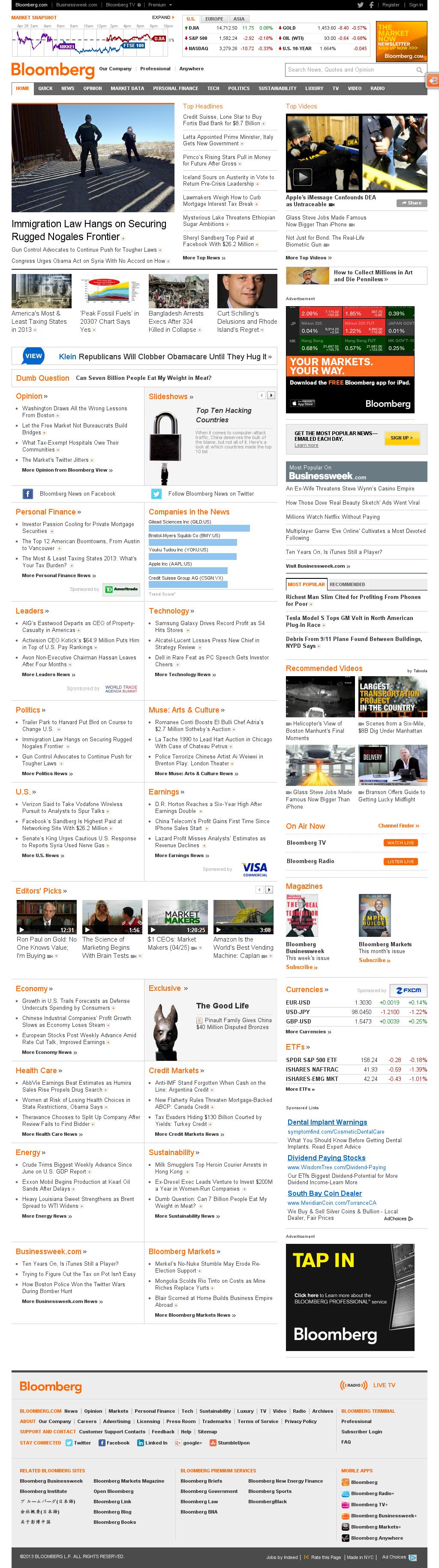 Bloomberg at Saturday April 27, 2013, 5:01 p.m. UTC